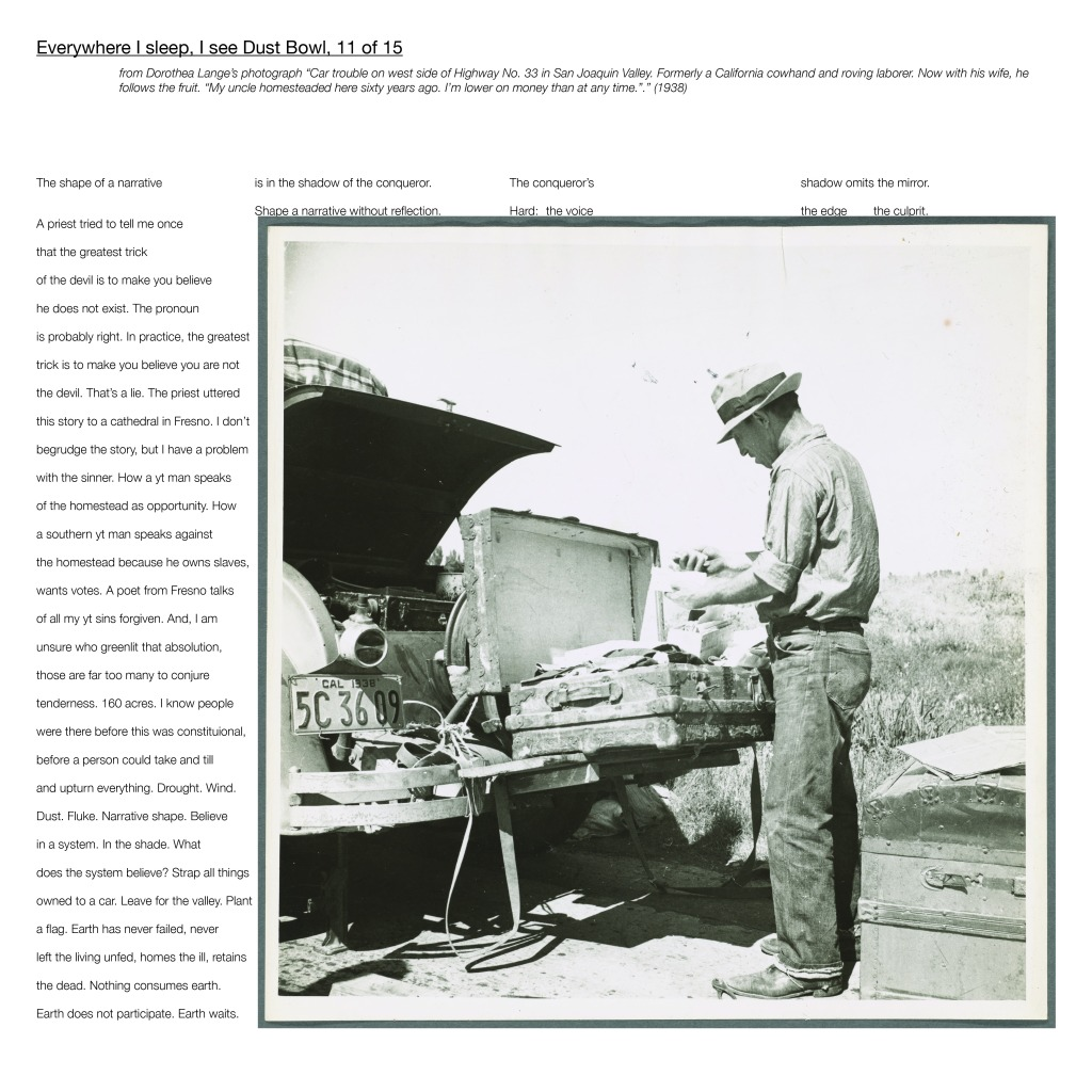 "Multimedia collage: from Dorothea Lange's photograph ""Car trouble on west side of Highway No. 33 in San Joaquin Valley. Formerly a California cowhand and roving laborer. Now with his wife, he follows the fruit. ""My uncle homesteaded here sixty years ago. I'm lower on money than at any time.""."" (1938)"