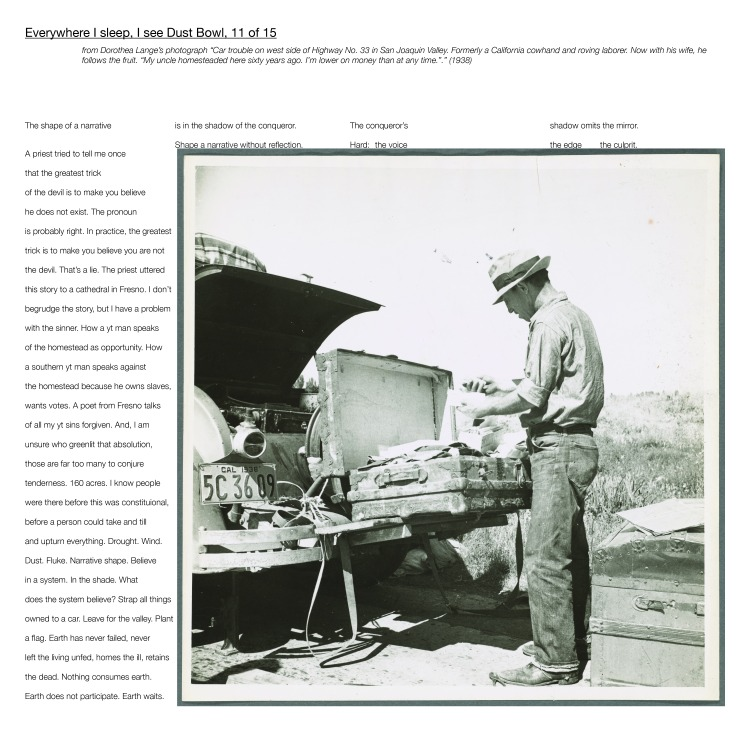 """Multimedia collage: from Dorothea Lange's photograph """"Car trouble on west side of Highway No. 33 in San Joaquin Valley. Formerly a California cowhand and roving laborer. Now with his wife, he follows the fruit. """"My uncle homesteaded here sixty years ago. I'm lower on money than at any time.""""."""" (1938)"""