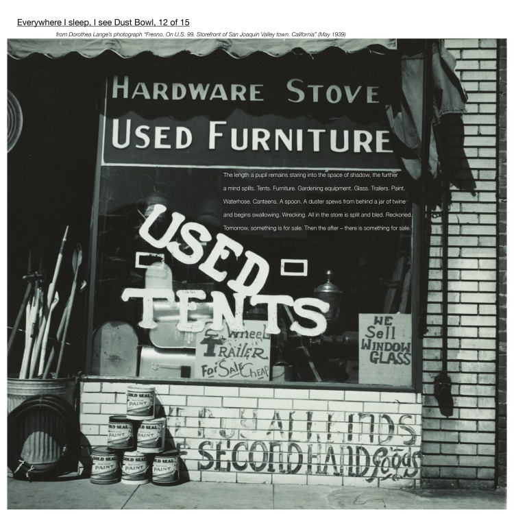 """Multimedia collage: From Dorothea Lange's photograph """"Fresno. On U.S. 99. Storefront of San Joaquin Valley town. California"""" (May 1939)"""