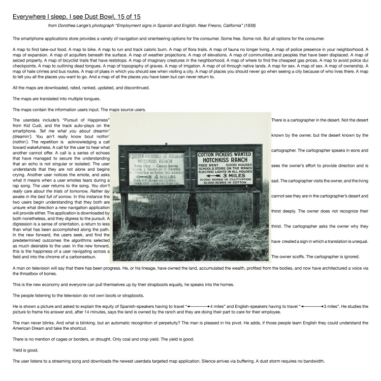 """Multimedia collage: From Dorothea Lange's photograph """"Employment signs in Spanish and English. Near Fresno, California"""" (1938)"""