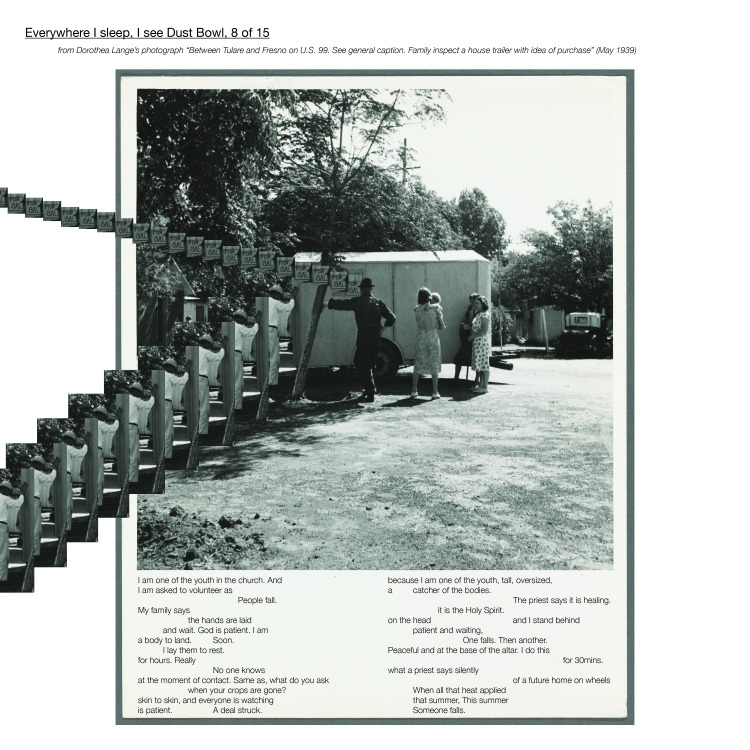 """Multimedia collage, from Dorothea Lange's photograph """"Between Tulare and Fresno on U.S. 99. See general caption. Family inspect a house trailer with idea of purchase"""" (May 1939)"""