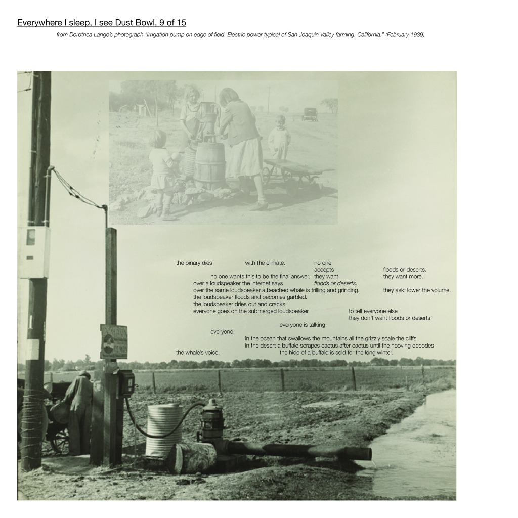 "Multimedia collage: from Dorothea Lange's photograph ""Irrigation pump on edge of eld. Electric power typical of San Joaquin Valley farming. California."" (February 1939)"